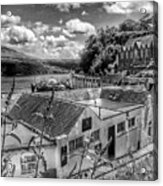 Over The Rooftops At Portree In Greyscale 2 Acrylic Print