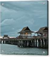 Clouds Over The Naples Pier Acrylic Print