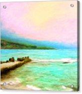 Overcast Sunset At Napoopoo Beach Park Acrylic Print