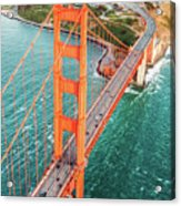 Overhead Aerial Of Golden Gate Bridge, San Francisco, Usa Acrylic Print