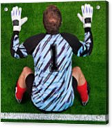 Overhead Shot Of A Goalkeeper On The Goal Line Acrylic Print by Richard Thomas