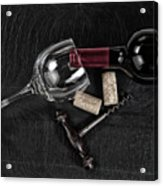 Overhead View Of Vintage Corkscrew With Red Wine Bottle And Glas Acrylic Print