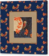 Owl And Moon On Midnight Blue Acrylic Print