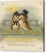 Owl Couple On Bench Acrylic Print