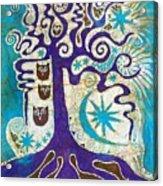 Owls In A Summer Tree Acrylic Print
