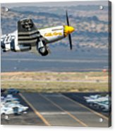 P51 Mustang Little Horse Gear Coming Up Friday At Reno Air Races 16x9 Aspect Signature Edition Acrylic Print