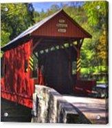 Pa Country Roads - Ebenezer Covered Bridge Over Mingo Creek No. 2a - Autumn Washington County Acrylic Print