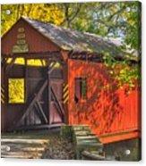 Pa Country Roads - Henry Covered Bridge Over Mingo Creek No. 3a - Autumn Washington County Acrylic Print