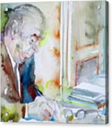 Pablo Neruda - Watercolor Portrait.8 Acrylic Print