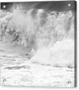 Pacific Ocean Breakers Black And White Acrylic Print