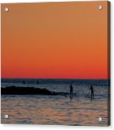 Paddleboarding Pairs - Mackinzie Beach Sunset Acrylic Print