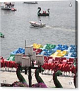 Paddleboats Waiting In The Inner Harbor At Baltimore Acrylic Print