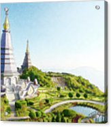 Pagoda On Doi Inthanon, Chiang Mai, Thailand.  Acrylic Print