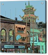 Pagoda Tower Chinatown Chicago Acrylic Print by Marianne Dow