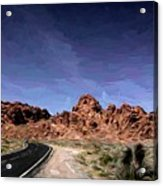 Paint Mixed Valley Of Fire Landscape  Acrylic Print