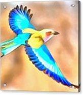 Painted Birds In Skyline Acrylic Print