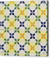 Painted Patterns - Floral Azulejo Tiles In Blue Green And Yellow Acrylic Print