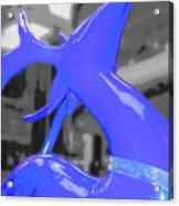 Painted Reindeer Blue Acrylic Print