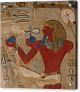 Painted Relief Of Thutmosis IIi Acrylic Print by Kenneth Garrett
