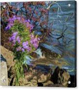 Painted River Flower Acrylic Print
