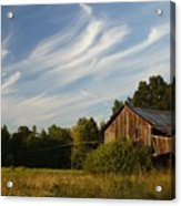 Painted Sky Barn Acrylic Print by Benanne Stiens