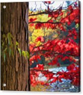 Painterly Rendition Of Red Leaves And Tree Trunk In Autumn Acrylic Print
