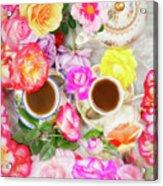 Painterly Tea Party With Fresh Garden Roses II Acrylic Print