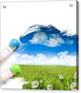 Painting A Landscape With Blue Sky Acrylic Print