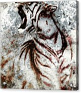 Painting Abstract Tiger Collage On Color Abstract  Background  Rust Structure Wildlife Animals Acrylic Print