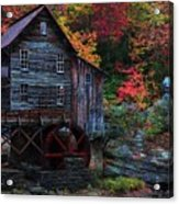 Painting Babcock State Park Glades Creek Grist Mill West Virginia Acrylic Print