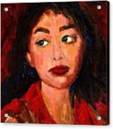 Painting Of A Dark Haired Girl Commissioned Art Acrylic Print