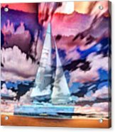 Painting Of Boats In Red Sunset Colors Acrylic Print