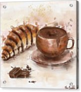 Painting Of Chocolate Delights, Pastry And Hot Cocoa Acrylic Print