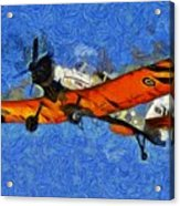 Painting Of Pezetel Aircraft Of Hellenic Air Force Acrylic Print