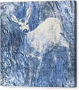 Painting Of Young Deer In Wild Landscape With High Grass. Graphic Effect. Acrylic Print