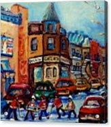 Paintings Of Montreal Hockey On Fairmount Street Acrylic Print