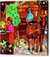 Paintings Of Montreal Streets Old Montreal With Flower Cart And Caleche By Artist Carole Spandau Acrylic Print