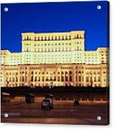 Palace Of Parliament At Night Acrylic Print