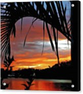 Palm Framed Sunset Acrylic Print