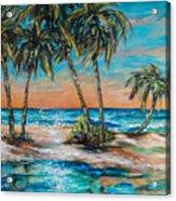 Palm Reflection Lagoon Acrylic Print