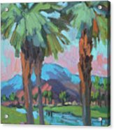 Palms And Coral Mountain Acrylic Print