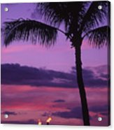 Palms And Tiki Torches Acrylic Print