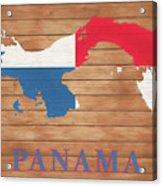 Panama Rustic Map On Wood Acrylic Print