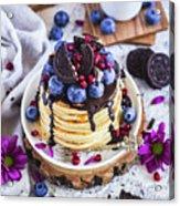 Pancakes With Chocolate Sauce Acrylic Print