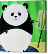 Panda Drawing Bamboo Acrylic Print by Lael Borduin