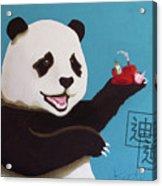 Panda Joy Blue Acrylic Print