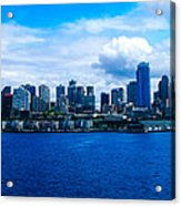Pano Of Downtown Seatle Acrylic Print