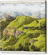 Panorama Drawn From The Rigi Mountain Acrylic Print