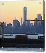 Panorama New York City Skyline With Passing Container Ship Acrylic Print