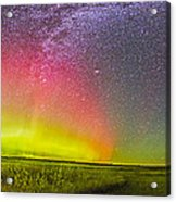 Panorama Of An Aurora And The Milky Way Acrylic Print